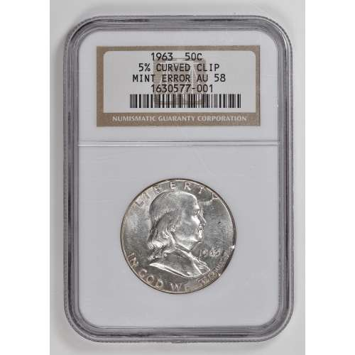 1963 5% CURVED CLIP  NGC AU-58