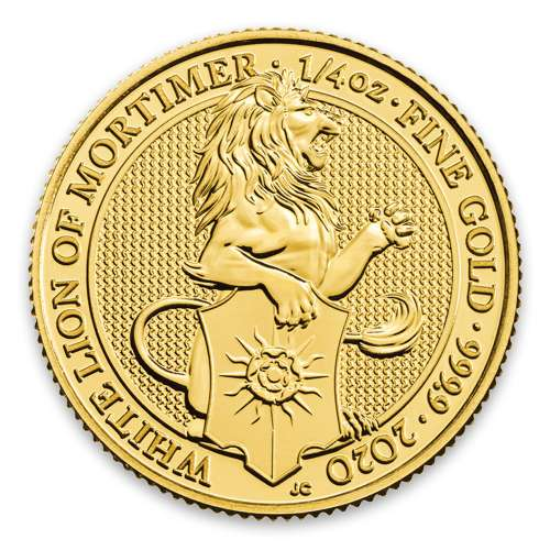 2020 1/4oz Gold Britain Queen's Beasts: The White Lion of Mortimer