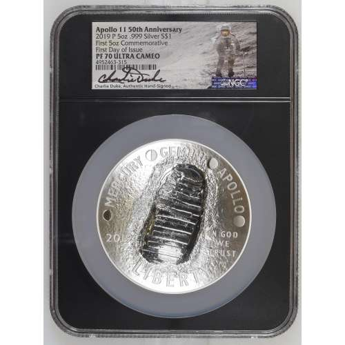 2019 Apollo 11 50th Anniv. First Day of Issue First 5oz Commemorative ULTRA CAMEO NGC PF-70
