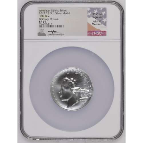 2019 .999 Fine First Day of Issue American Liberty Series P 2.5oz NGC SP-69