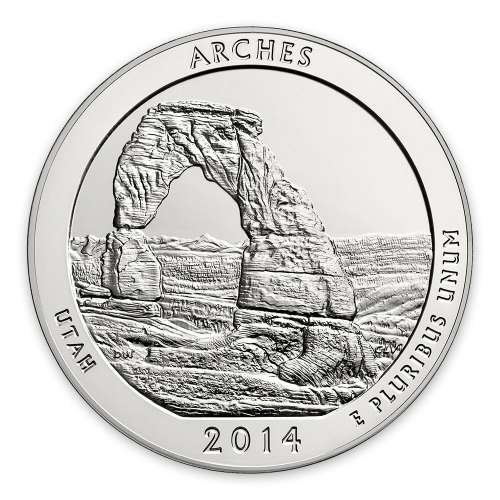 2014 5 oz Silver America the Beautiful Arches National Park