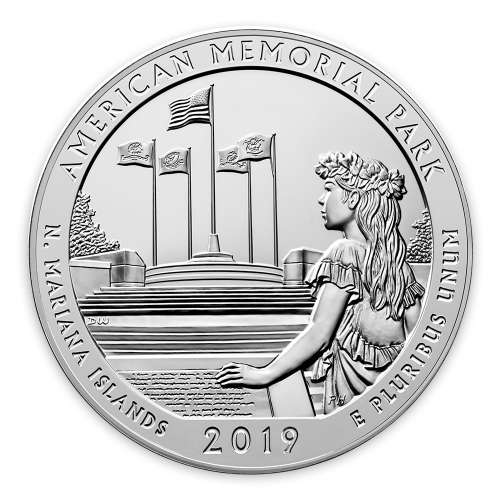 2019 5 oz Silver America the Beautiful American Memorial Park