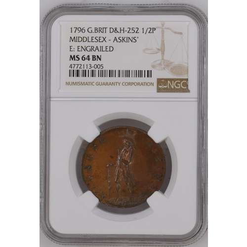 1796 MIDDLESEX - ASKINS' E: ENGRAILED BN NGC MS-64