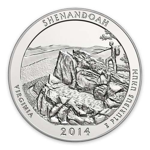2014 5 oz Silver America the Beautiful Shenandoah National Park