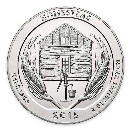 2015 5 oz Silver America the Beautiful Homestead National Park