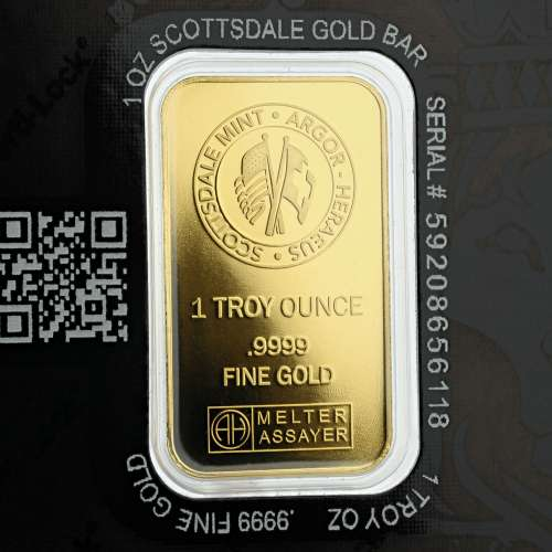 1oz Scottsdale mint minted Gold Bar .9999 Purity w/cert
