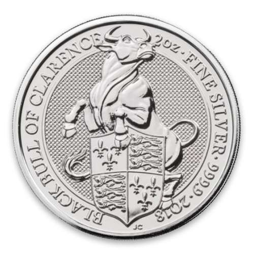 2018 2oz Silver Britain Queen's Beast: The Black Bull of Clearence