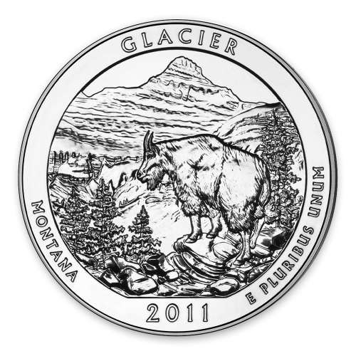 2011 5 oz Silver America the Beautiful Glacier National Park