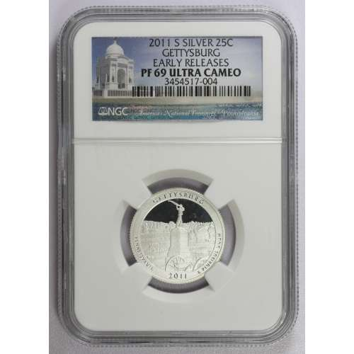 2011-S GETTYSBURG EARLY RELEASES ULTRA CAMEO NGC PF-69