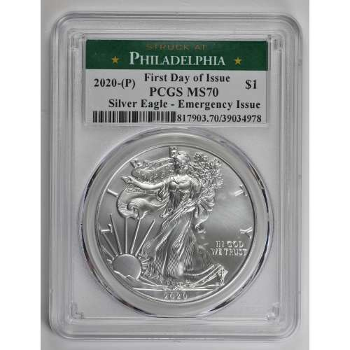 2020-(P) Silver Eagle - Emergency Issue  First Day of Issue  PCGS MS-70
