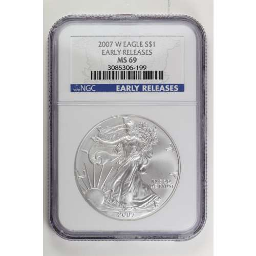 2007-W BURNISHED SILVER EAGLE EARLY RELEASES W NGC MS-69