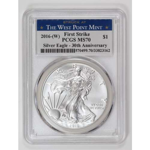 2016-(W) Silver Eagle 30th Anniversary  First Strike  PCGS MS-70