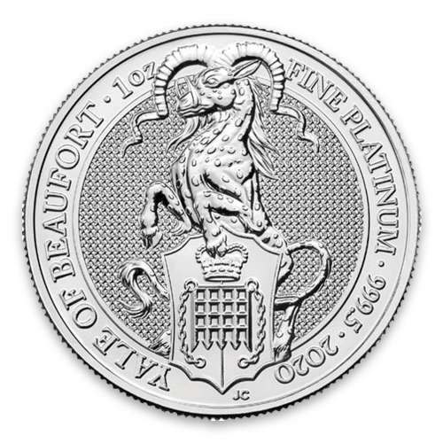 2020 Britain 1 oz Platinum Queen's Beasts The Yale of Beaufort
