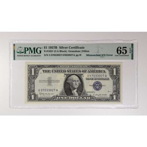 1957 B-$1 Silver Certificate Mismatched S/N EPQ NGC MS-65