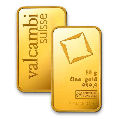 50g Valcambi Minted Gold Bar